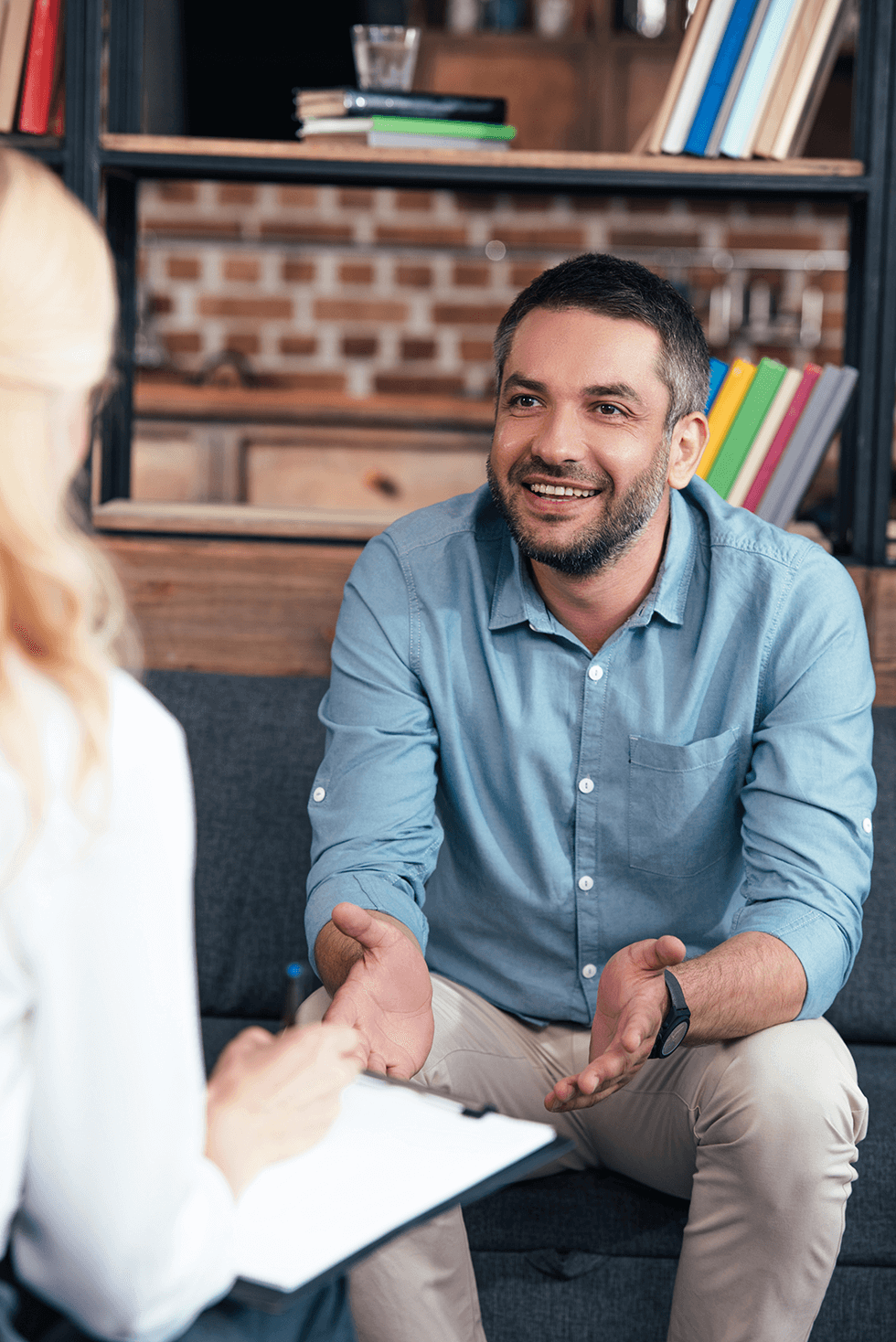 Man in an EMDR therapy session